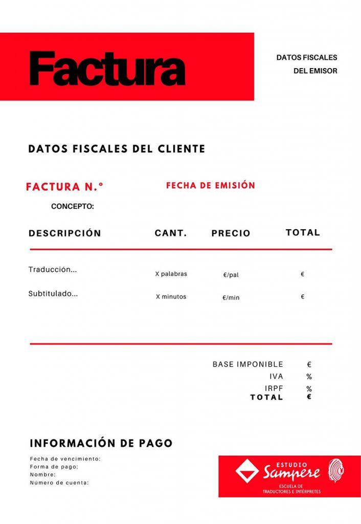 Modelo de factura para traductores